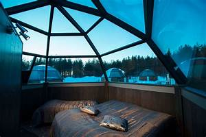 Inside the glass igloo of Arctic Snow Hotel in Finnish ...