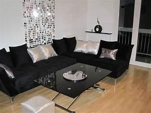 Deco Salon Blanc Et Gris : photo decoration deco salon noir et blanc turquoise ~ Zukunftsfamilie.com Idées de Décoration