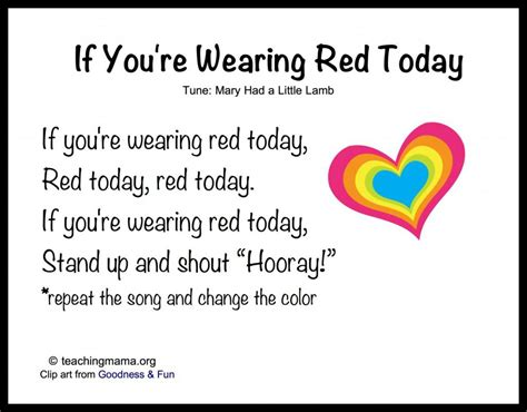 8 songs to begin a preschool day 724 | If Youre Wearing Red Today 1024x800