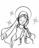 Coloring Catholic Lady sketch template