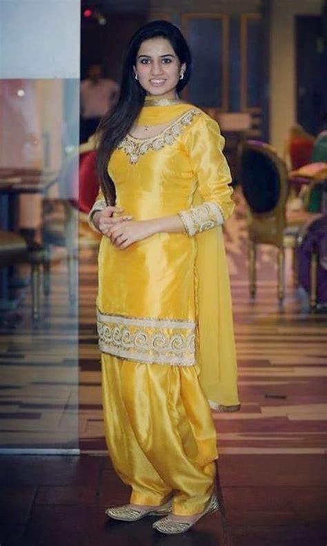 yellow silk embroidery punjabi patiala salwar suit white