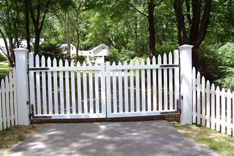 automated white wood picket gate fence gate design