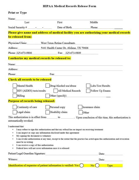 medical disclaimer form 40 medical records release form release of information