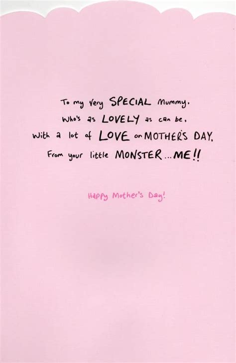 mummy cute  monster mothers day card cards love