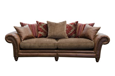brown leather sofa with fabric cushions leather sofa fabric cushions leather fabric sofas