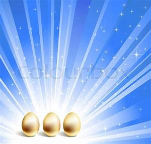 Gold eggs and blue star background | Vector | Colourbox