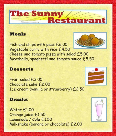 restaurant menu learnenglish kids british