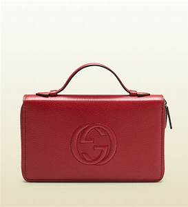 gucci soho leather travel document case in red for men lyst With designer document case