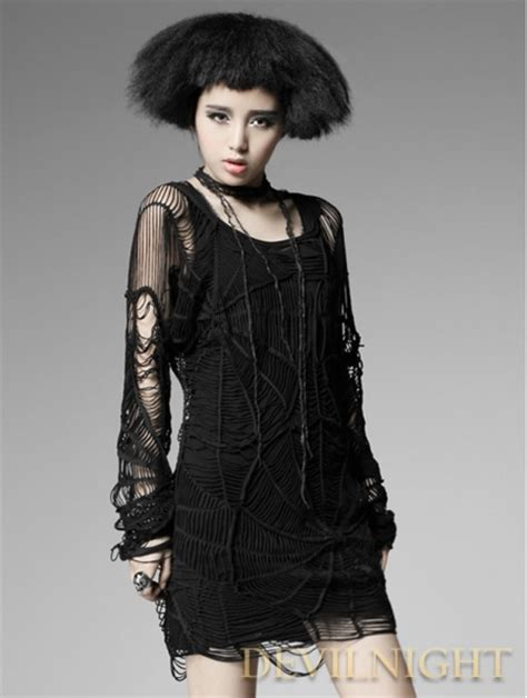 Black Long Sleeves Spider Web Gothic Shirt for Women - Devilnight.co.uk
