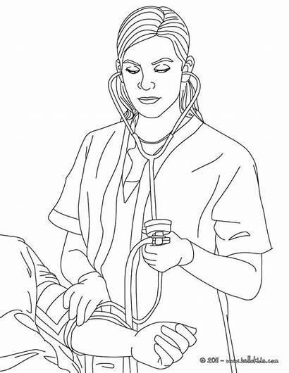 Nurse Coloring Blood Pages Pressure Job Drawing