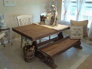 Minimalist Rustic Kitchen Table With Bench Seating Design
