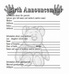 sample birth announcement 7 documents in pdf With free online birth announcements templates