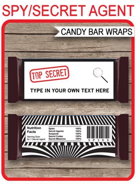 spy  secret agent hershey candy bar wrappers birthday