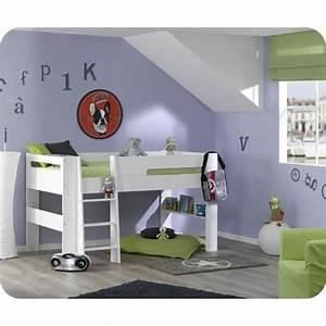 Lit En Hauteur Enfant : pack lit mi hauteur enfant wax blanc avec matelas achat ~ Preciouscoupons.com Idées de Décoration