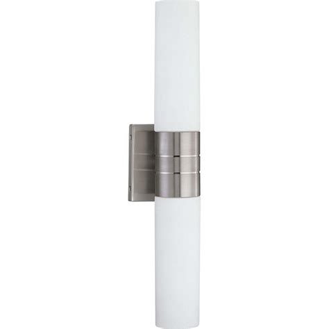 glomar loreley 2 light brushed nickel sconce with white