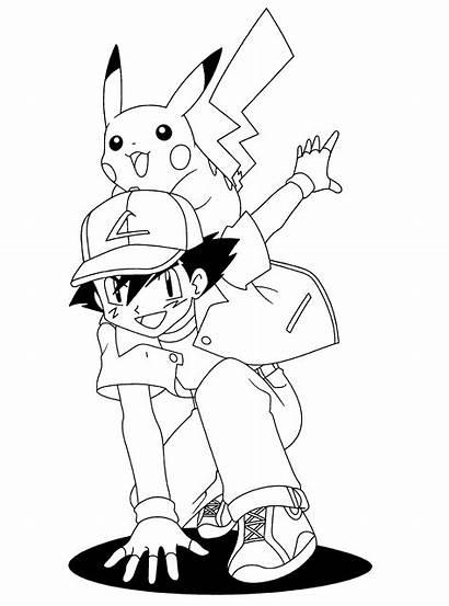 Pokemon Coloring Pages Pikachu Ash Printable Sheets