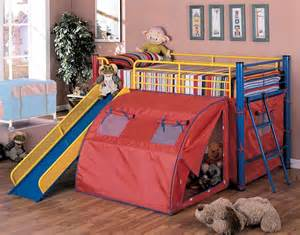 Twin Loft Bed with Tent and Slide - Coaster 7239