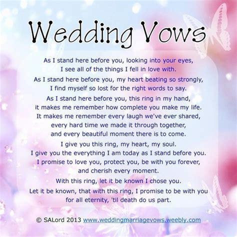 ring vows wedding romantic wedding vows sle marriage vow exles