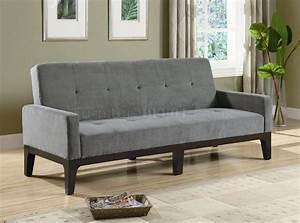 grey microfiber fabric modern convertible sofa bed w wood base With contemporary grey sofa bed