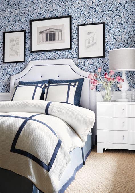 bedroom  thibaut winchester paisley wallpaper  navy