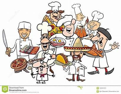 Cartoon International Cuisine Chefs Illustration Funny Dishes