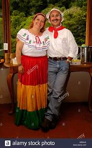 Costa Rican couple in traditional dress, Monteverde ...