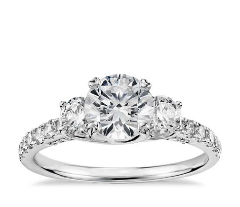 truly zac posen three stone trellis diamond engagement ring in platinum 3 4 ct tw blue nile