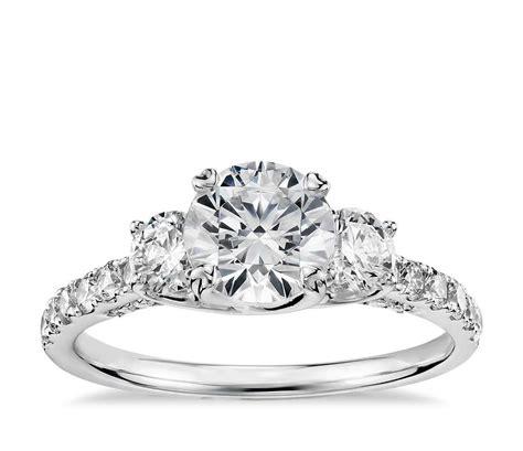 Truly Zac Posen Threestone Trellis Diamond Engagement