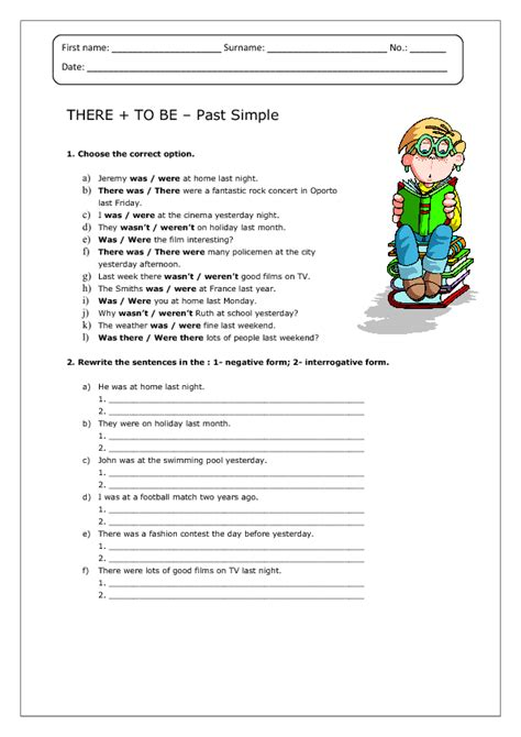 There + To Be  Past Simple Worksheet