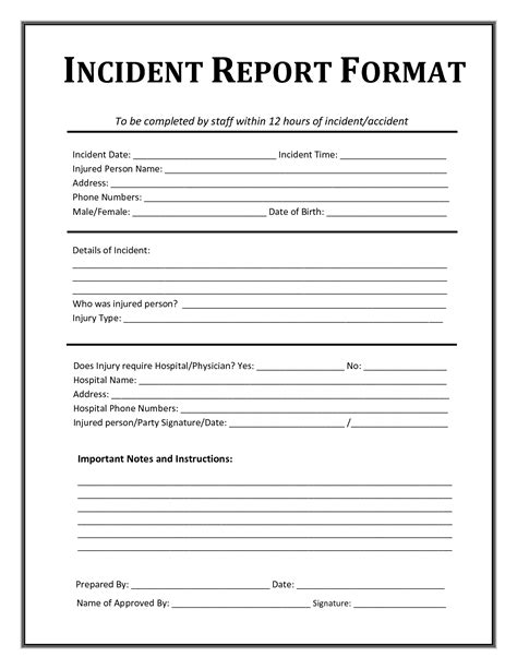 incident report template incident report form incident