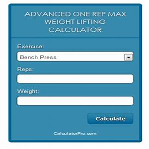 Online Advanced One Rep Max Weight Lifting Calculator  Amazon It  Appstore Per Android