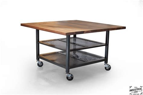 kitchen island with seating for 5 walnut steel industrial kitchen island dining table