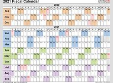 Fiscal calendars 2021 as free printable Word templates