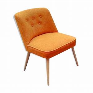 Fauteuil scandinave cocktail chauffeuse orange annees 50 for Chauffeuse scandinave