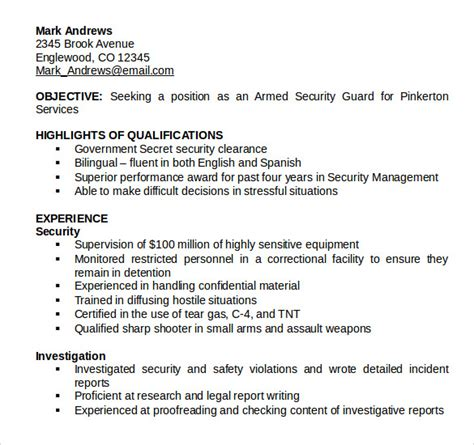 security guard resume templates   sample