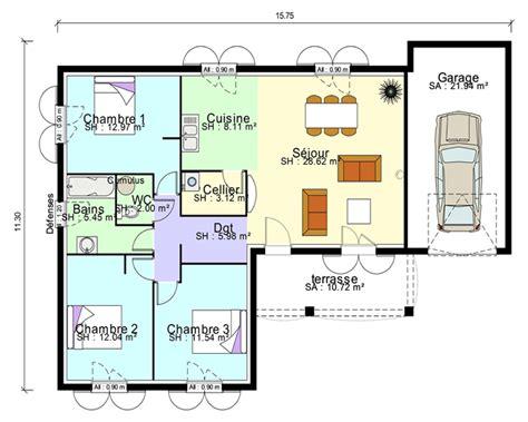 chambre garage plan maison contemporaine plain pied en l 3 chambres et