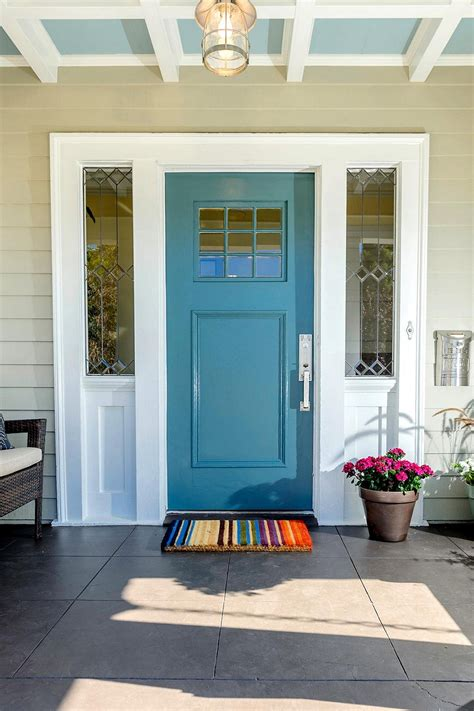 colored front doors blue front door for a warm and friendly house