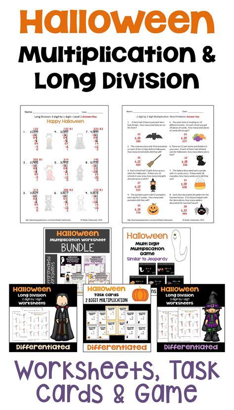 halloween math multiplication  long division bundle