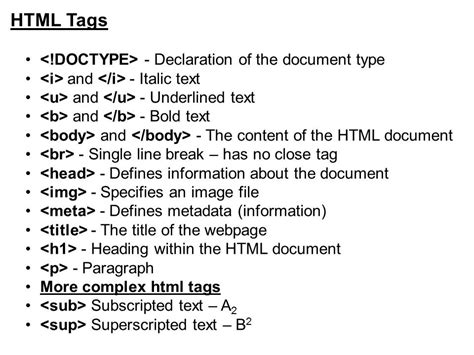 HTML Tags and Meanings
