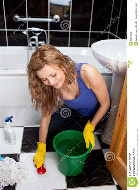 Young Beautiful Cleaning Maid Woman With Bucket And Mop