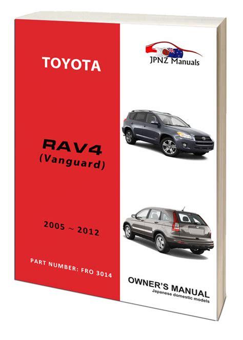 toyota rav rav  vanguard owners user manual
