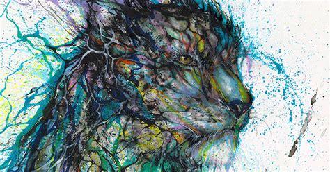 splattered ink animal portraits  chinese artist hua