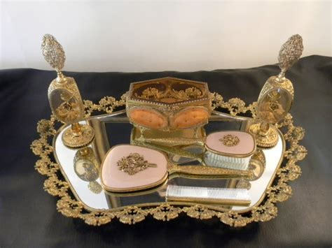 antique vanity set guildcrest mirrored vanity tray set front porch antiques