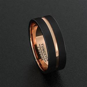 tungsten wedding bands 8mm mens ring black brushed rose With mens tungsten wedding ring