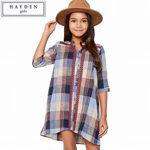 HAYDEN Teen Girls Plaid Shirt Dress 100% Cotton Half ...