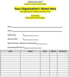 silent auction bid sheet template printable silent