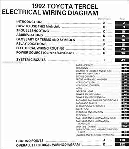 1992 Toyota Tercel Wiring Diagram Manual Original