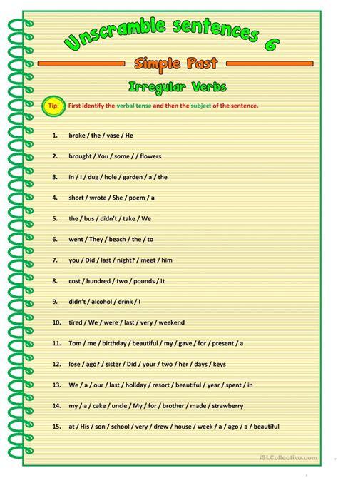 unscramble sentences  english esl worksheets