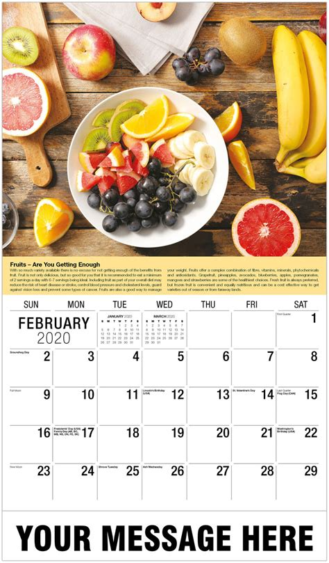 health  wellness tips  promotional calendar