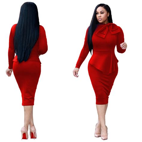 Women Casual Long Sleeve Dresses Bodycon Evening Elegant